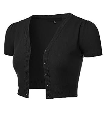 7a696c54735 FLORIA Womens Button Down Short Sleeve Cropped Bolero Cardigan Sweater  Black S
