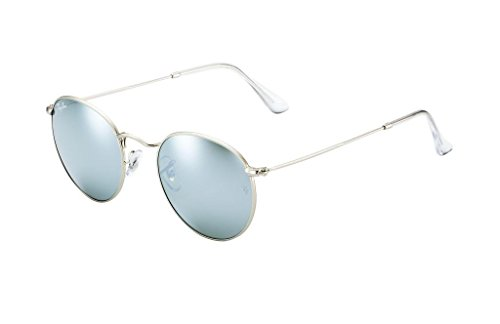 Ray Ban RB3447 019/30 50 Matte Silver/Mirror Round Sunglasses Bundle-2 - 50 Metal Round Rb3447
