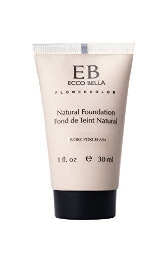 Ecco Bella Liquid Foundation Makeup - Natural, Vegan, Gluten and Paraben-Free Makeup for Flawless Coverage, Ivory Porcelain, 1 oz.