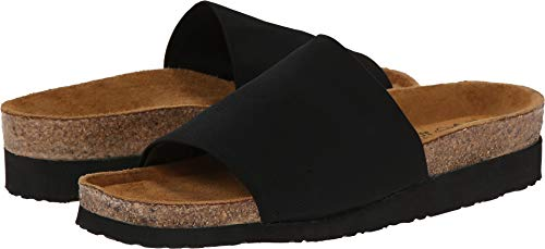 Naot Women's Ipanema Wedge Sandal, Black Stretch, 37 EU/6-6.5 M US