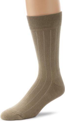 ECCO Men's Single Cushioned Crew Socks, Taupe, Sock Size: 10-13/Shoe (Taupe Mens Socks)