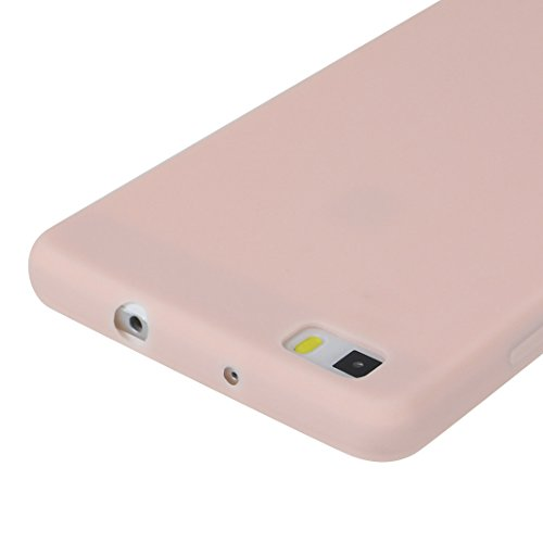 Huawei P8 Lite 2015 Release Hülle Dünn Silikon, Asnlove Handy Schutzhülle für Huawei P8 Lite 2015 Release Hülle TPU Silikon Backcover Case Handytasche Einfarbig Telefon-Kasten Tasche Schutz Cover Desi 2er pink