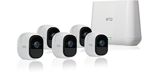Arlo Technologies Security System with Siren - 5 Rechargeable Wire-Free HD Cameras with Audio, Indoor/Outdoor, Night Vision, Works with Alexa (VMS4530)