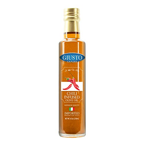 Giusto Sapore Chili Infused Italian Olive Oil - Extra Virgin 8.5oz - Premium Superior Quality Gluten Free Gourmet Brand - Imported from Italy and Family Owned ...
