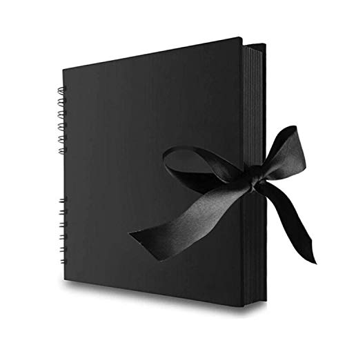 Potok Scrapbook 12x9 Photo Album Black Pages, Great for Craft Paper DIY Anniversary, Wedding Guest Book, DIY Anniversary Travel Memory Book, (Black)