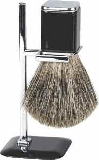 Harry D Koenig & Co Badger Shave Brush avec support pour les hommes, d'argent