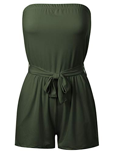 (BEYONDFAB Women's Sexy Solid Tube Romper Summer Jumpsuit with Belt Olive L)
