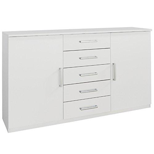 Sideboard RUBILO221 alpinweiß, Schubladen-Kommode ca. 150 x 40 cm, Höhe ca. 90 cm, 2 Türen, 5 Schubladen