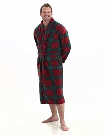 Men\'s Warm Microfibre Fleece Dressing Gown - Classic Scottish Tartan ...