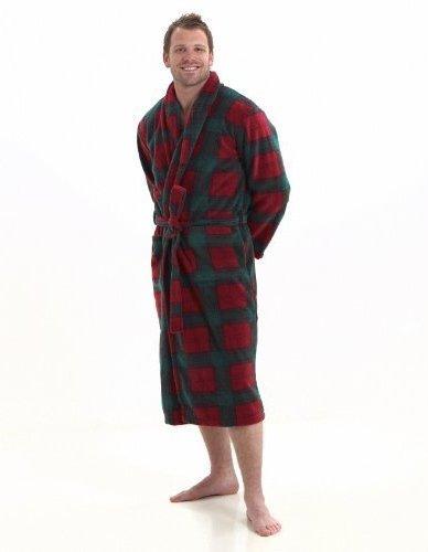 Bata polar térmico con cuello chal para hombre - Tartán Escocés (XL)