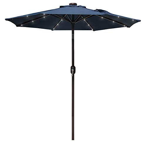 Market Umbrella Navy Blue - Sundale Outdoor 7 ft Solar Powered 24 LED Lighted Patio Umbrella Table Market Umbrella with Crank and Push Button Tilt for Garden, Deck, Backyard, Pool, 8 Steel Ribs, Polyester Canopy (Navy Blue)
