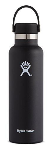 Hydro Flask 18 oz Double Wall Vacuum Insulated Stainless Steel Leak Proof Sports Water Bottle, Standard Mouth with BPA Free Flex Cap, Black