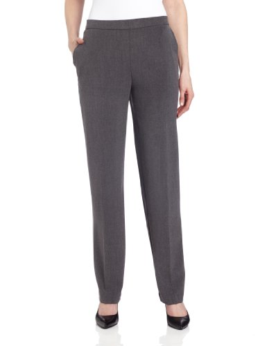 Briggs New York Women's Pull On Dress Pant Average Length & Short Length, Heather Grey, 12
