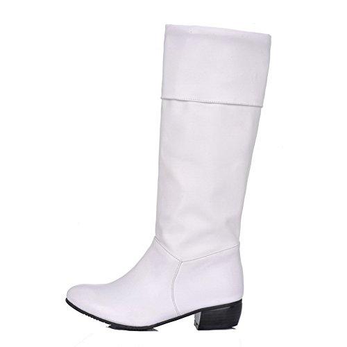 AgooLar Damen Rein Niedriger Absatz Rund Zehe Ziehen auf Stiefel Weiß