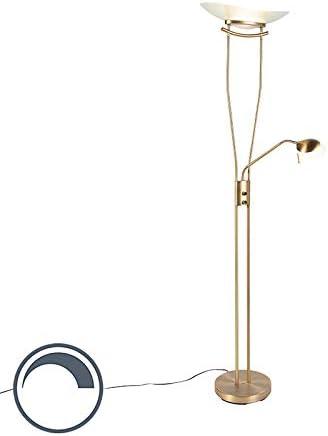 1 x 20 20 Oblungo Non sostituibile Max QAZQA Lampada da terra con braccioo de lettura lexus Moderno Bronzo Vetro,Acciaio