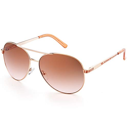 LotFancy Aviator Sunglasses for Women with Case, UV400 Protection, 61MM, Lightweight Eyewear for Driving Fishing Sports, Light Brown Gradient Lens, Gold Metal ()