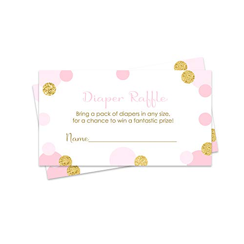 Pink and Gold Diaper Raffle Tickets - Baby Shower Game - Set of 25