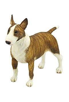 - 5.5 Inch Poly Stone Bull Terrier Dog Figurine Home Decor Brown White