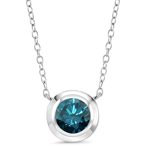 1.10 Ct Round Blue Diamond 925 Sterling Silver Pendant With Chain from Gem Stone King