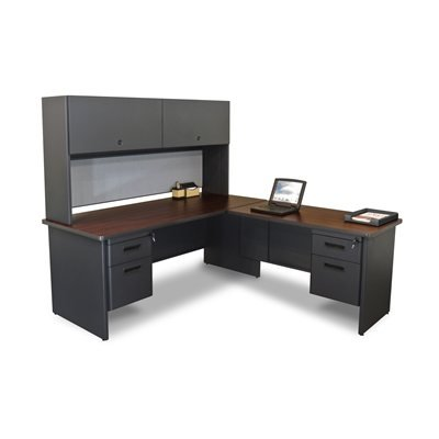 picture of Pronto Pronto Desk with Return and Pedestal, 72W x 78D:Putty/Chalk