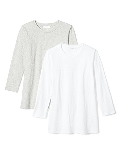 Tee 3/4 Sleeve Crewneck (Daily Ritual Women's Lived-in Cotton Slub 3/4-Sleeve Crew Neck T-Shirt, 2-Pack, White/Light Heather Grey, Large)