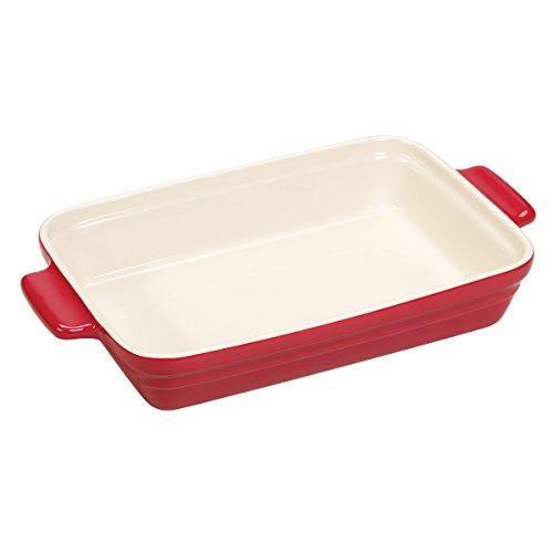 Baker's Advantage Ceramic Rectangular Baker, 9-by-13-Inch, Red