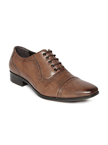 San Frissco Brown Oxford & Wingtip Shoes Lace-up Formal Fashion Soft Leather Derby Laced up Comfortable Non Slip Stylish Western Shoes Round Toe for Professional Smart (Western Wingtip)