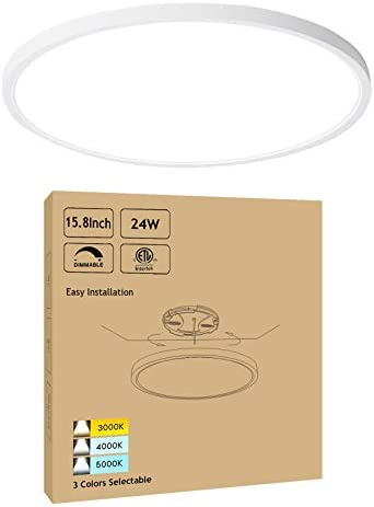 "15.8"" Dimmable LED Flush Mount Ceiling Light Low Profile 24W 3000K-4000K-5000K 3 Color Temperature Selectable - White Ultra Thin Modern Surface Mount Ceiling Lamp for Residential, ETL FCC Listed"
