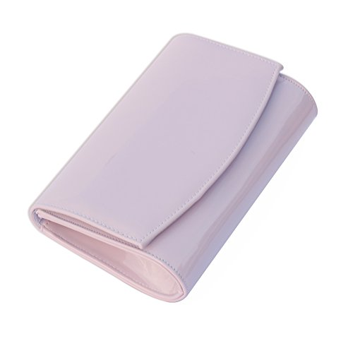 Evening Color Purses Leather Handbag Lavender wallyn's Fashion Patent Clutch Bag Wallets Solid Women 0pafwqW