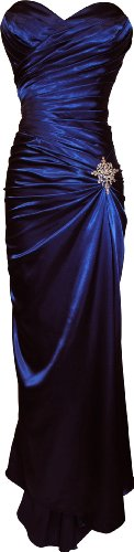 Strapless Long Satin Bandage Gown Bridesmaid Dress Prom Formal Crystal Pin, 3X, Royal (Gowns Pacificplex)