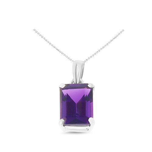 14K White Gold 6 x 8 mm. Emerald Cut Genuine Natural Amethyst Pendant With Square Rolo Chain (14k White Gold Amethyst Pendant)