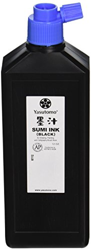 Yasutomo KY12 Permanent Liquid Sumi Ink, 12 oz. Bottle, 7.88