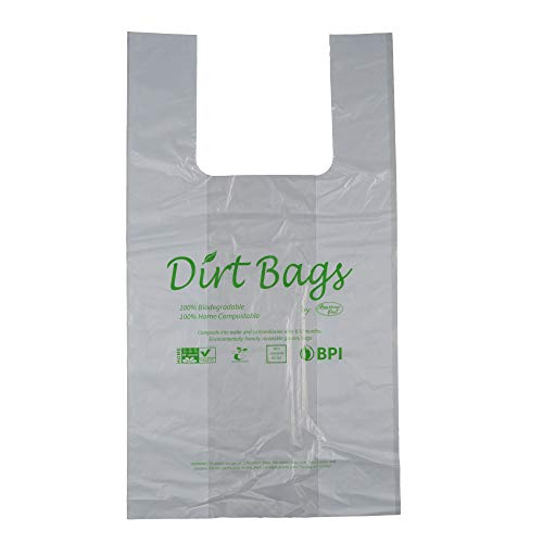 Moisture Resistant, Certified 100% Home Compostable - 100% Biodegradable, Shopping Bags, Reusable, Trash Bags, No Plastic, Pack of 100, Dirt Bags by American Poet ()