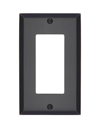 MAYKKE Graham Single Rocker Switch Cover | Premium 1 Toggle Solid Brass Wall Plate Standard Size | Oil-Rubbed Bronze, ALA1020104