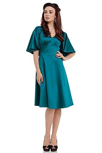 Voodoo-Vixen-Retro-Harper-Satin-Caplet-Sleeve-A-Line-Dress