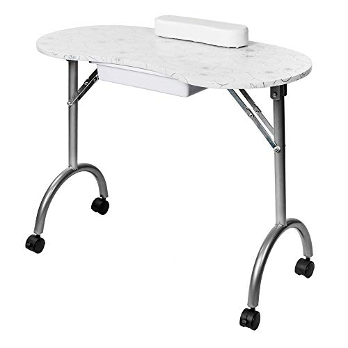 Nail Station Salon Furniture - Mefeir Portable Manicure Nail Table, Foldable MDF Laminated Home Nail Beauty Technician Desk, Spa Salon Workstation with Drawer, Client Wrist Pad and Carrying Bag, White
