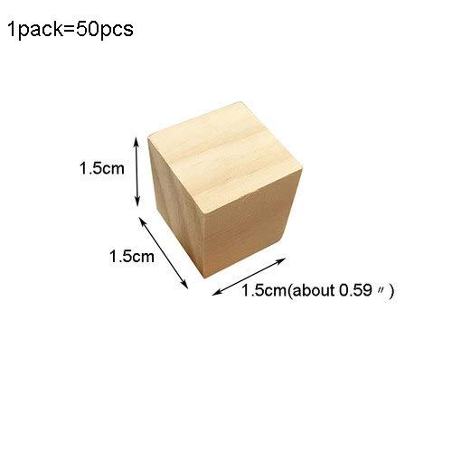 Mini Cube Beads (MONICO: Wooden Square Blocks Unfinished Wood Solid Wood Cube Mini Cubes DIY Woodwork Craft Embellishment for Wedding Christmas Party)
