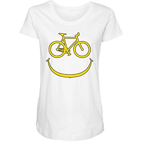 Bike Smiley Face - Emoticon Bicycle Rider Side Ruched Maternity T-Shirt (White, X-Large)