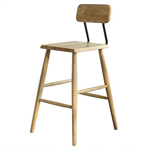 Spindle High Back Bar Stool - XINGPING Nordic Solid Wood Ash Black Walnut High Stools Home Wrought Iron Back High Chair (Color : Ash Wood, Size : 65cm)