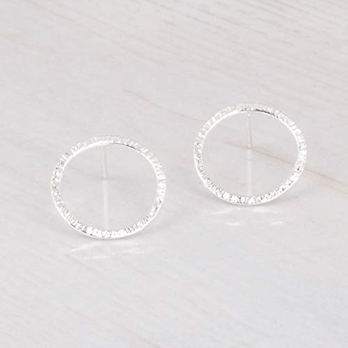 Sterling Silver Hammered Circle Earrings - Small Hammered 925 Sterling Silver Circle Stud Earrings - Handmade Delicate Open Circle Posts