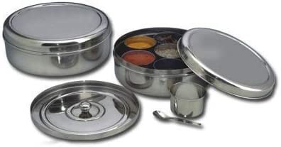 Spice Container – Masala Dabba – 7 Compartments, masala box,steel masala dabba,Spice container box,stainless steel spice box indian masala dabba with 7 spice containers with size 8 X 8 inches