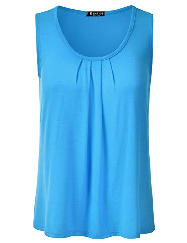 (EIMIN Women's Pleated Scoop Neck Sleeveless Stretch Basic Soft Tank Top Turquoise 2XL)