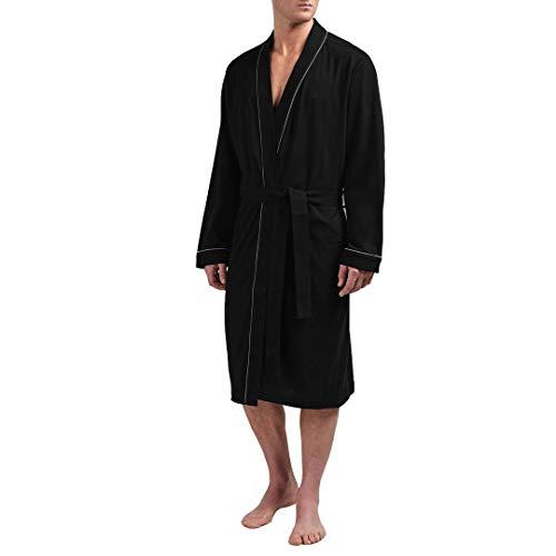 HOLOVE Cotton Robe for Men with Pocket Robe Lightweight Soft Pajama (Black L/XL)]()