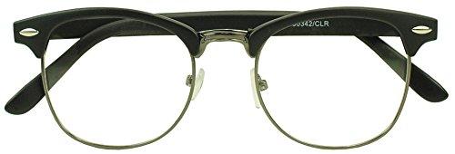 Sunglass Stop - Round Half Frame Horned Rim Clear Uv400 Lens Clubmaster Eye Glasses (Matte Black | Gun Metal , Clear - Tortoise Clubmaster Matte
