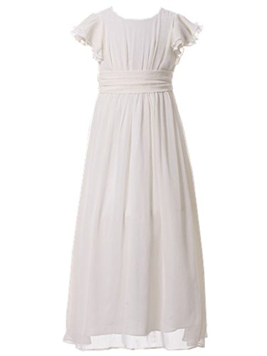 Happy Rose Flower Girl's Dress Prom Party Bridesmaid Dress Long Ivory Cream 10 ()