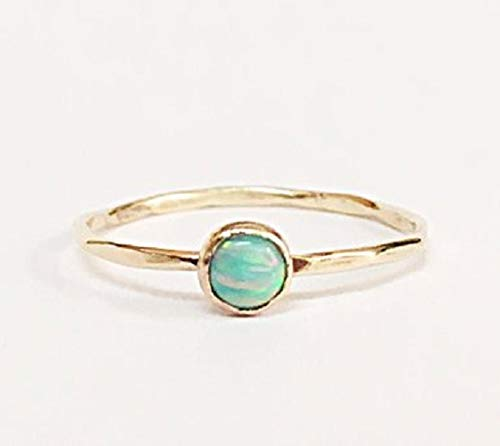e76b457186843 Thin Opal Stackable Ring October Birthstone Stacking