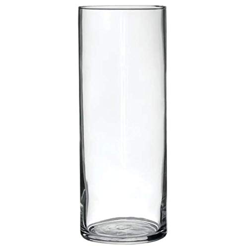 Treasures Untold Glass Cylinder Vases Bulk Set of 12 for Wedding Reception Centerpiece Sets and Formal Dinners (9 Inch)]()