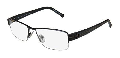 135 Black Eyeglasses (Oga 7923o Mens Designer Half-rim Spring Hinges Eyeglasses/Glasses (55-17-135, Black / Taupe))