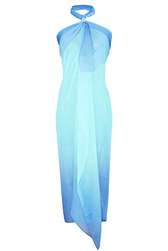 Block Garden Swimsuit Cover up Soft Chiffon Beach Sarong Pareo Bikini Wrap (S11 Ombre Blue) ()