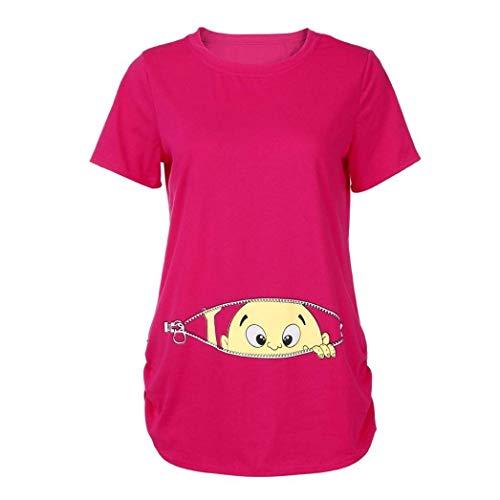 Elgante Shirt Modle Allaitement Shirt Cartoon Tee Maternit Haut Plier Rond Femme Enceinte Pink Mode Col Tshirts Hot Vetement Casual Impression Basic Et fashion HX Courtes Manches Bouffant fnvqxtn